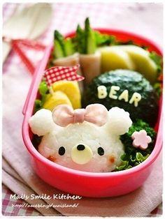 mini white bear riceball bento