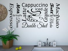 Coffee words collage wall stickers Coffee Words, Word Collage, Kitchen Words, Kitchen Wall Stickers, Vinyl Wall Art, Coffee Cups, Colours, Home Decor, Coffee Mugs