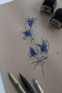"Day 29: Espora de cabaleiros (Espuela de caballero) ""Consolida ajacis""  #InkTober #InkTober2016 #InkToberEspaña #FloraDaGaliza Inktober, Watercolor Tattoo, Artsy, Animal, Tattoos, Drawings, Ideas, Tatuajes, Knight"