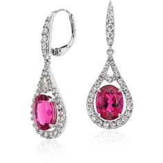 Blue Nile Rubellite with Diamond Halo Earrings (38.070 VEF) ❤ liked on Polyvore featuring jewelry, earrings, 18k jewelry, 18k earrings, 18 karat gold earrings, pink tourmaline jewelry en 18 karat gold jewelry