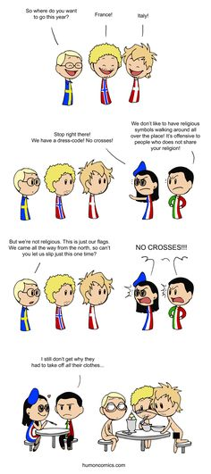 Religious Flags - Scandinavia and the World: look at France!! And Sweden and his sister are complete opposites!