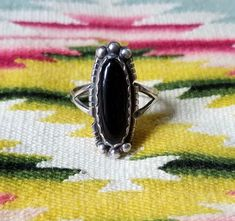 Vintage Hallmarked Sterling Silver Onyx Ring- Navajo Billy Slim? Ring sz 9 1/4 by delilahsdeluxe on Etsy