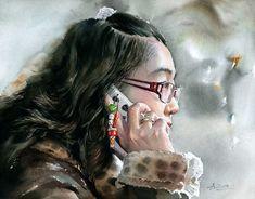 Mobile LiveInternet Watercolor portraits of Misulbu (South Korea). Watercolor Face, Watercolour Painting, Watercolors, Pastel Portraits, Watercolor Portraits, Landscape Sketch, Guache, Korean Artist, Portrait Art