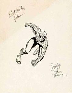 Comic Art For Sale from Coollines Artwork, ROMITA SR, JOHN - Spiderman finished illo circa 1969 to 1972 by Comic Artist(s) John Romita Sr.