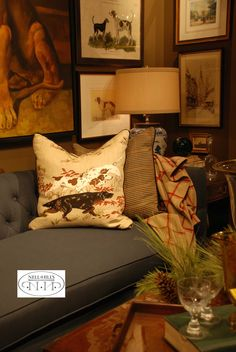 Hunting scenes and plaid are two of my favorite patterns for fall. Love them here, with this yummy throw, on this Nell Hill's sofa.