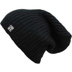 Black Acrylic Mohair Slouch Knit Beanie Cap Hat