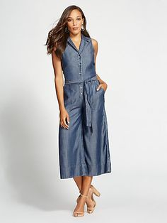 da095d4f99f Gabrielle Union Collection - Ultra-Soft Chambray Jumpsuit - New York    Company Chambray Jumpsuit