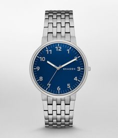 SKAGEN Stainless Steel Midnight Blue Dial Bracelet Link Watch