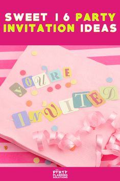Every invite to an event should include some basic important information, and sweet 16 invitations are no exception. We've got the scoop on the need-to-know info to help you create and send the all-important Sweet Sixteen invitations 😉 PIN NOW for Awesome Sweet Sixteen Invitation Ideas! #sweet16partyideas #sweet16 #sweetsixteen #partyinvitations #partyideas