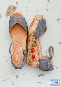 fbcf3420890c Give your look a lift with TOMS floral print cork wedges. They re the
