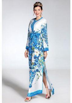 Maxi Sommerkleid 2017 mit Blumendruck