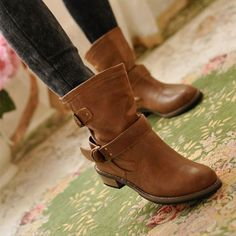 Brown Boots Women spring and autumn martin boots flat vintage buckle motorcycle boots - Winter snow boots - Womensshoes Buckle Ankle Boots, Mid Calf Boots, Women's Shoes, Skull Shoes, Shoes Style, Dance Shoes, Superstar, Martin Boots, Motorcycle Boots