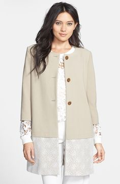 Beautiful spring coat! Chelsea28 Lace Hem Coat available at #Nordstrom