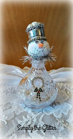 "Glass Jar Snowman, Glass Snowman Assemblage, Glitter Snowman Decoration, ""Darla"" Snow Lady, Christmas Collectible, Original by SimplyTheGlitter on Etsy"
