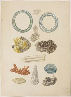 Watercolor bracelets made ​​of glass and minerals. Maria Sibylla Merian: Leningrader Aquarelle. Leipzig, 1974. Bd.1. Taf.22; 1704–1705