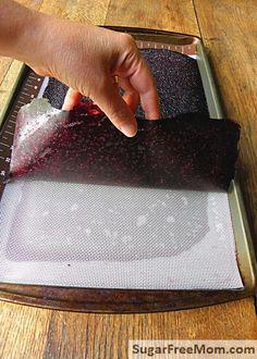 Homemade Naturally Sweetened Blueberry Fruit Roll-Ups