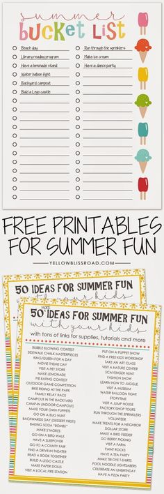 Summer Bucket List and 100 Activity Ideas Printables to make planning summer activities easier!