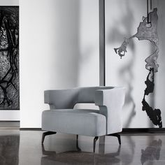 With its open back and lively interplay of geometric and organic forms, the Minerva Lounge Chair is an exquisitely crafted addition to the… Living Room Vanity, Living Room Chairs, Studio Furniture, Modern Furniture, Sofa Chair, Sofa Set, Chairs For Rent, Holly Hunt, Single Chair