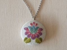 Cross stitch pendant - Lotus Flower, Silver setting - 30 mm (1.2inch) Round