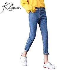a83fe898f068f 2018 Autumn With High Waist Female Boyfriend Jeans For Women Trousers Denim  Loose Pants Ripped Jeans Woman Plus Size Jeans 26 34