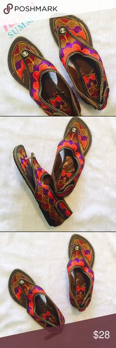 🆕 Indian Summer flats Colorful handmade Indian shoes with multicolor embroidery . Best for beach or a sunny day . Size in Indian shoes varies from USA but size mentioned in the listing is based on USA sizing. Please ask any Q before u buy . Price is firm unless bundled . Shoes Flats & Loafers