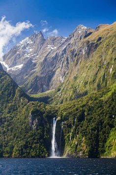 Milford Sound, New Zealand. Those mountains! That water! Those mountains rising directly up out of that water! And a waterfall just in case it wasn't awesome enough to begin with! Oh, New Zealand.