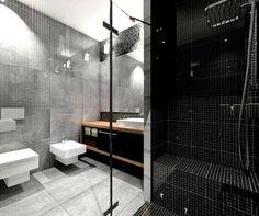 salle de bain noir blanc gris dalles simili béton mosaique noire