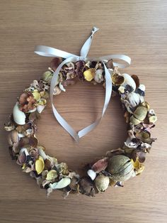 Autumn wreath. Made by newspaper, ikea Dofta, and wire. Good smell and avoid roaches too.