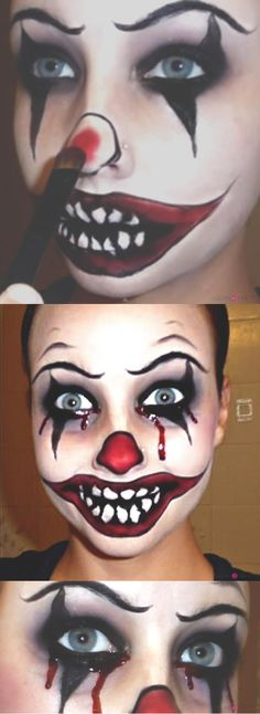 Killer Clown Makeup Tutorial | If you're looking for something a little more creepy, this is it! | Makeup Tips and Tutorials from youresopretty.com #MakeupTips #youresopretty Halloween Makeup Clown, Scary Clown Costume, Costume Halloween, Halloween Looks, Face Paint For Halloween, Halloween 2017, Halloween Costumes Diy Scary, Clown Face Paint, Halloween Decorations
