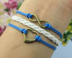 Infinity and heart bracelet bronze love by themagicbracelet, $3.59