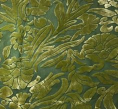 HAND DYED Burnout SilkVelvet Fabric - Yellow Green Floral. Luscious silk/rayon velvet. | eBay!