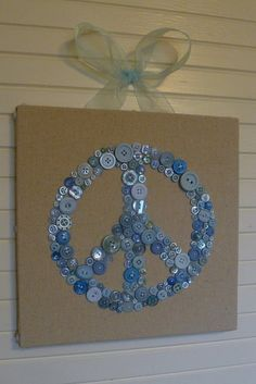 Peace Out Wall Art in Sky Blue Buttons  by by letterperfectdesigns, $75.00