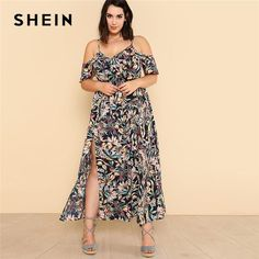 SHEIN Open Shoulder Tropical Wrap Dress 2018 Summer Spaghetti Strap V neck Ruffle Dress Women Plus Size Beach Belted Dress. Product ID: Belted Dress, Ruffle Dress, Plus Zise, Look Jean, Dress Plus Size, Fit And Flare, Sleeve Styles, Cold Shoulder Dress, Short Sleeve Dresses