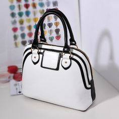 2013 spring and summer women's handbag black and white color block handbag smiley bag women's bags 0440-inOthers from Luggage & Bags on Alie...