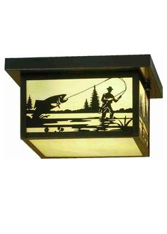 12 Inch Sq Hyde Park Fly Fishing Creek Flushmount. 12 Inch Sq Hyde Park Fly Fishing Creek flush mountA Fly Fisherman landing his catch is depicted on this handsome American Craftsman style flush mount. The fixture, handcrafted in the USA by Meyda artisans, is finished in Craftsman Brown and has Iridized Beige art glass panels. Theme:  ARTS & CRAFTS Product Family:  Hyde Park Fly Fishing Creek Product Type:  CEILING FIXTURE Product Application:  FLUSH MOUNT Color:  BAI CRAFTSMAN Bulb Type:...