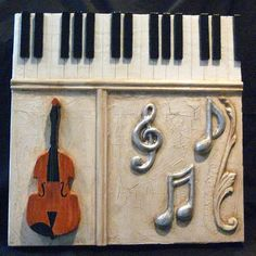 MUSIC ART COLLAGE - PIANO KEYS AND NOTES by mamapainter, via Flickr