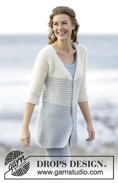 "Knitted DROPS jacket in garter st with stripes in 1 strand ""Alpaca"" and 1 strand ""Kid-Silk"". Free Pattern"