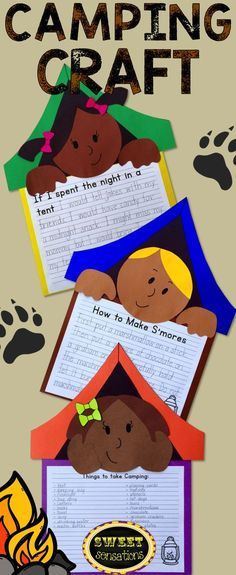 A camping themed craft activity - perfect for thinking about summer activities! Use this for camping week! Fun idea for summer themed speech therapy! Camping Activities For Kids, Writing Activities, Summer Activities, Preschool Activities, Therapy Activities, Outdoor Activities, Camping Bedarf, Camping Ideas, Camping Essentials