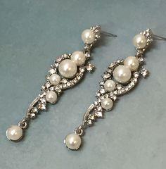 Wedding earrings, Bridal jewelry, Bridal earrings, Wedding jewelry, Bridesmaids earrings, Great Gatsby earrings, Pearl crystal earrings