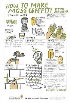 Moss Graffiti How-To.   Sadly, this does not work. Believe you me, fellow moss-collectors. Moss grows by spores, not from the blended up, beer-soaked bits of its former self. There must be another way!