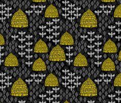 Honey Hives -  Black by Andrea Lauren fabric by andrea_lauren on Spoonflower - custom fabric
