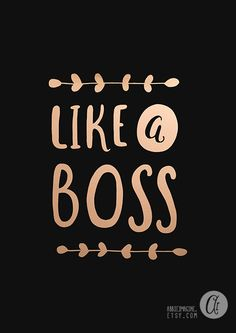 Like a Boss Black and white Faux Gold Print by AbbieImagine