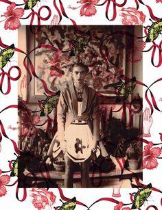 """La fotógrafa #WendyBevan bajo el título de """"Latin Lover"""" retrata a la modelo #EmilySenko convertida en #FridaKahlo para Marie Claire Italia Marzo 2011"""