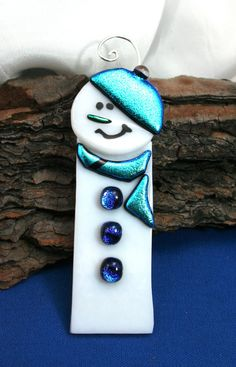 Aqua Fused Glass Snowman Fused Glass Ornament by hbjewelrydesign, $16.00