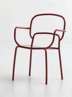 Chaise laquée en métal avec accoudoirs MOYO by CHAIRS & MORE