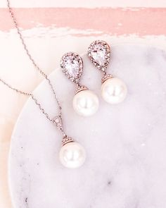 Simple Pearl Jewelry Set, Earrings, Necklace, Brides, Bridesmaids, Bridal Shower Gifts, Wedding Jewelry, Classy, Everyday, www.glitzandlove.com