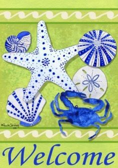 Coastal Welcome Blue Crab Starfish Sea Urchin Seashells Garden Flag by Custom Decor. $12.88. Made in the USA. Flags are made of permanently dyed polyester for long lasting beauty. Garden Flag size measures 12 inches x 18 inches. Fits Garden size flag holder. Fade and mildew resistant, made for all weather. Coastal Welcome Blue Crab Starfish Sea Urchin Seashells Garden Flag. Save 14%!