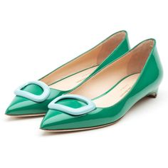 Rupert Sanderson Flat Pointy Pumps ($675) ❤ liked on Polyvore featuring shoes, pumps, patent leather flats, flat shoes, pointy-toe pumps, pointed-toe flats and blue flat shoes