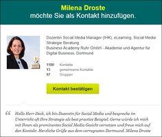 """Vor einigen Tagen über XING von Milena Droste diese Nachricht erhalten: """"Hallo Herr Deck, ich bin Dozentin für Social Media und bespreche im Unterricht oft Ihre Strategie als best practice Beispiel. (...)"""""""