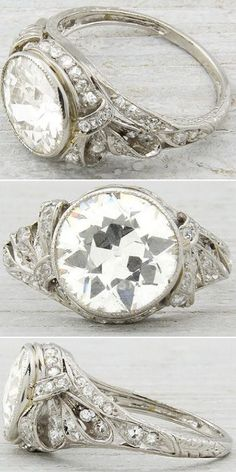 Art Deco jewelry is my life!-K- Antique Edwardian/early Art Deco engagement ring, circa Set with carat EGL certified old European cut diamond with H-I color and clarity. Via Diamonds in the Library. Bijoux Art Deco, Art Deco Jewelry, Fine Jewelry, Deco Engagement Ring, Antique Engagement Rings, Wedding Engagement, Antique Jewelry, Vintage Jewelry, Vintage Rings